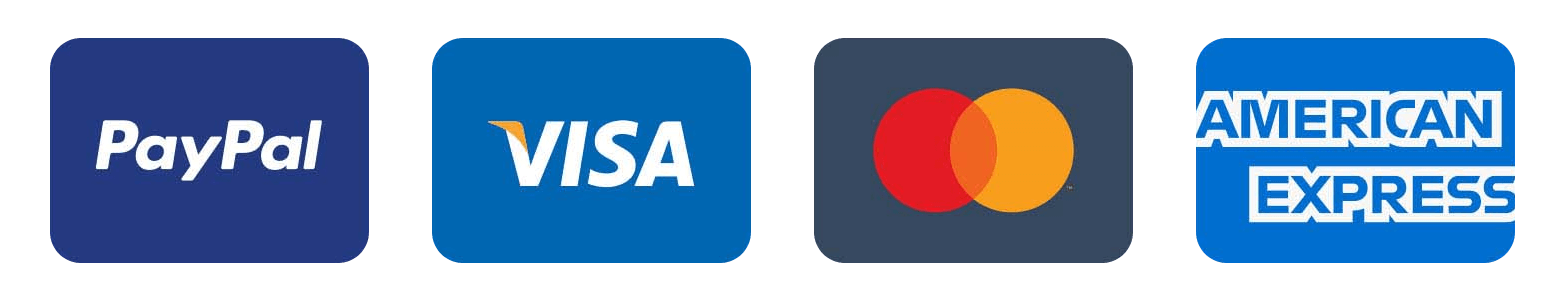 We accept PayPal, Visa, Mastercard, American Express